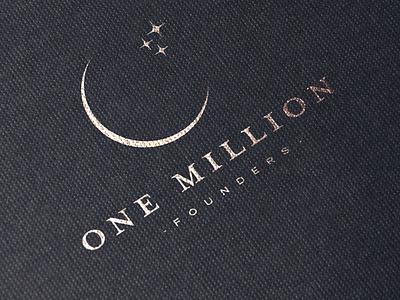 One Million Founders illustration minimal branding logodesign logo moon stars gold