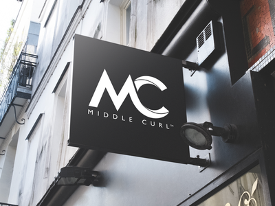 Logo for new fashion brand Middle Curl. signage retail graphic design branding brand identity logo designer logo surf