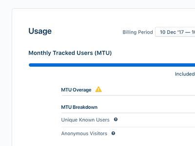 Usage Page meter billing enterprise ui