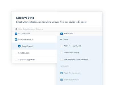 Selective Sync for Cloud Sources checkboxes select table ux saas ui b2b segment enterprise