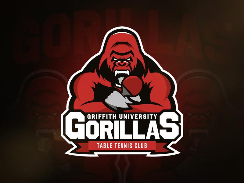 Gorillas Table Tennis Logo ping pong table tennis gorillas gorilla vector sports sport mascot logo illustration identity design branding