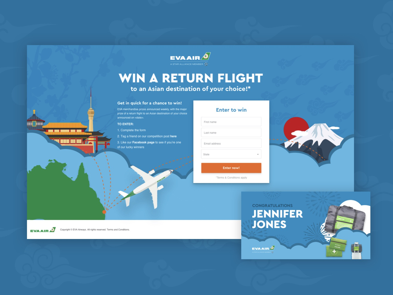 EVA Air Social Campaign Landing Page competition social campaign eva air airline facebook posts social media landing page ux ui design