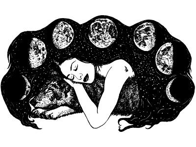 The Wolf and the Moon goddess fantasy mythology digital illustration moon wolf black and white illustration