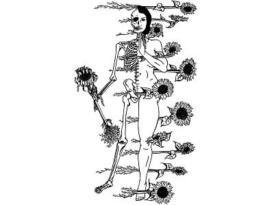 Justice botanical skull macabre skeleton tarot tattoo digital illustration black and white illustration