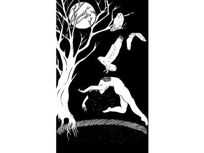 Death tree galaxy moon owl death macabre skeleton tarot tattoo digital illustration black and white illustration