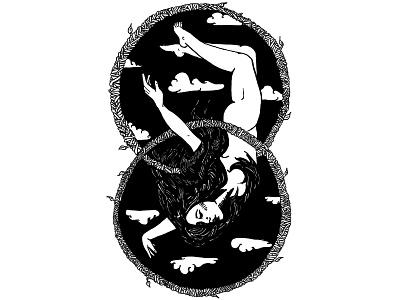 The Hanged Man circles clouds nude blackwork line art infinity tarot tattoo digital illustration black and white illustration