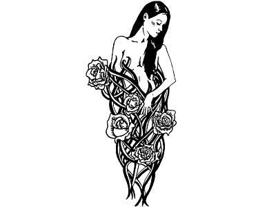 Five of Wands linework nude feminine rose flower tarot tattoo digital illustration black and white illustration