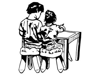 Siblings graphic art children vintage digital illustration black and white illustration