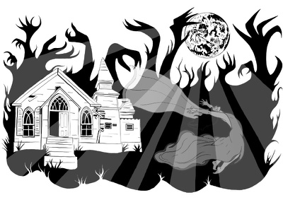 The Lady in White forest house moon graphic art cover art haunted ghost horror spooky digital illustration black and white illustration