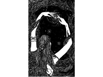 The Wheel of Fortune galaxy black goddess stars night woman tarot tattoo digital illustration black and white illustration