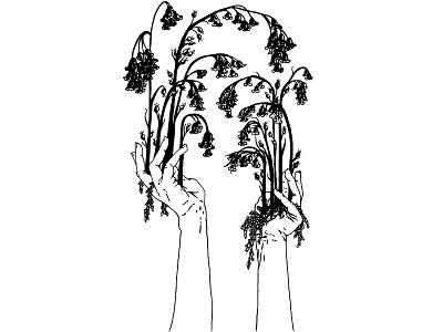 Queen of Wands minimalist line art hands flower floral tarot tattoo digital illustration black and white illustration
