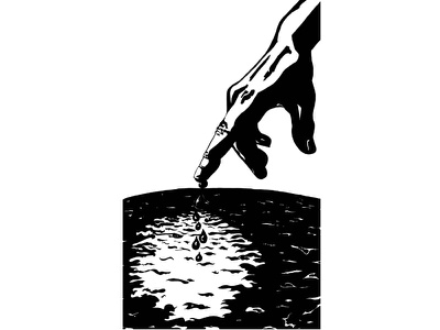 Seven of Cups noir silhouette light shadow moon water hand tarot tattoo digital illustration black and white illustration