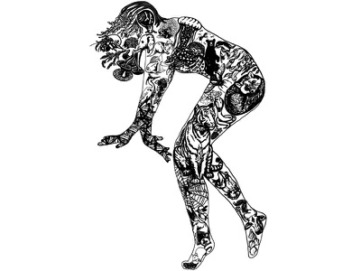 The High Priestess dancer witch feminine power plants flowers animals tarot tattoo digital illustration black and white illustration
