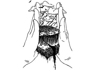 Emperor landscape surreal hands cover art blackwork line art tarot tattoo digital illustration black and white illustration