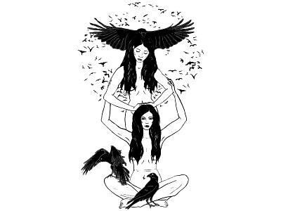 Hierophant cover art dark witch pagan bird raven crow tarot tattoo digital illustration black and white illustration