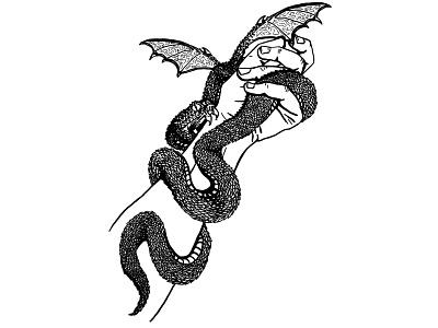 Strength blackwork line art ink editorial cpver art dragon fantasy tarot tattoo digital illustration black and white illustration