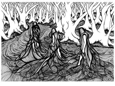 Divine Trinity book cover cover art horror dark forest blackwork book illustration sci-fi fantasy elf sprite water