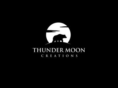 Thunder Moon Creations emblem illustration vector design logo esolzlogodesign silhouette production video wolf animal videocompany creations moon thunder