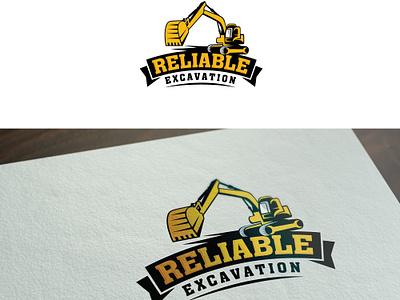 Reliable Excavation typography emblem illustration vector design logo esolzlogodesign truck excavator groundbreaking excavation reliable