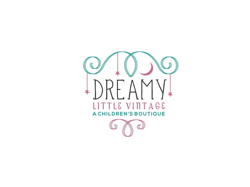 Dreamy Little Vintage linedrawing branding typography icon illustration design logo esolzlogodesign curly swirls boutique children vintage little dreamy