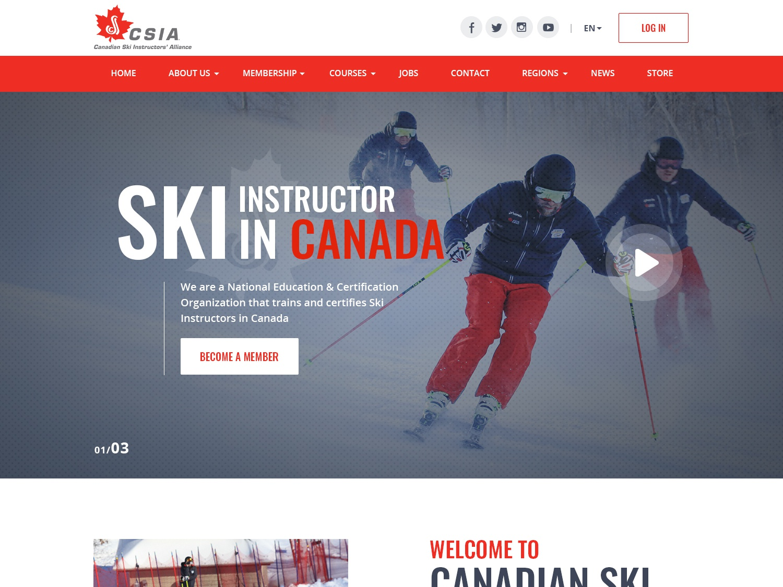 Canadian Ski Instructors alliance creative website design typography ui illustration esolzlogodesign ski canada instructors canadian ski instructors csia