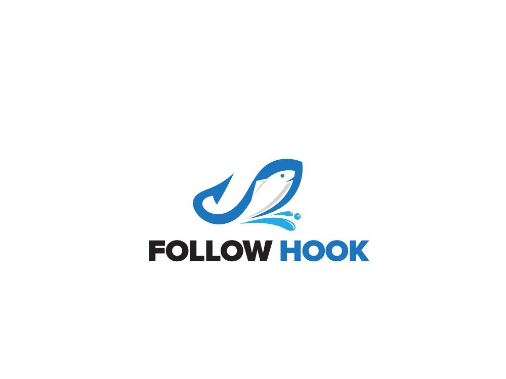 Follow Hook typography branding icon illustration design logo esolzlogodesign follow hook
