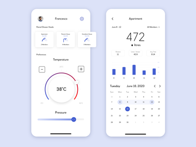 Smart Shower Mobile App Design white water ux ui shower smart home product design product phone mobile app mobile iphone illustrator flat design concept chart blue app design app