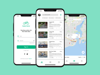 Bike Theft App Redesign ux ui sports product design mockup mobile app mobile map list iphone ios illustrator green fitness cycling bike bicycle app design app android
