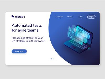 Website Landing Page for a Tech Startup isometric software tool technology tech web automation futuristic neon blue ux ui computer laptop website concept web design web app website