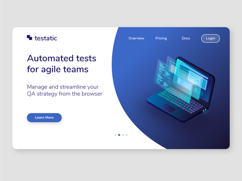 Website Landing Page for a Tech Startup isometric software tool technology tech web automation futuristic neon blue ux ui computer laptop website concept web design web app website