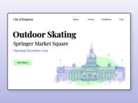 Outdoor Rink Website Landing Page white website web design ux ui sports mockup landing page kingston illustration building design concept city