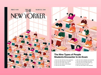 The Nine People Students Encounter in an Exam vector illustrator photoshop school magazine illustration