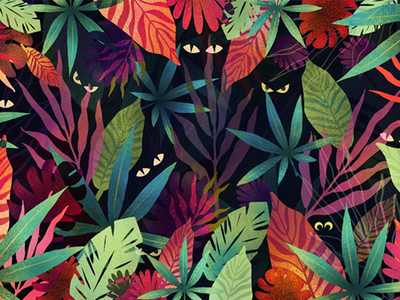 We Are Watching You adobe texture stylized pattern art colorful animals nature summer jungle vector illustration