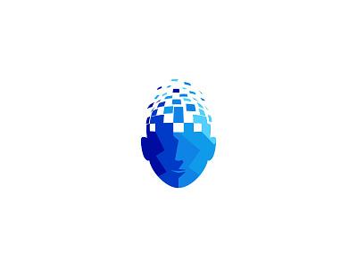 Humanoid pixel virtual head human idea symbol sale concept design branding icon logo