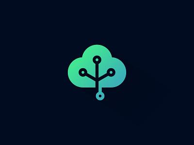 Digital Cloud connect network technology cloud digital symbol sale concept design branding icon logo