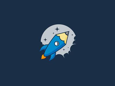 Rocket Pencil pencil creative rocket idea symbol sale concept design branding icon logo
