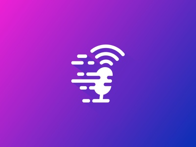 Fast Podcast fast speed radio podcast idea symbol sale concept design branding icon logo