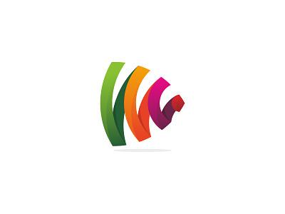 Play Signal colorful video media play signal wifi symbol design branding icon logo