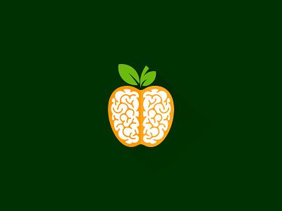 Healthy Brain Food fruit food healthy brain idea symbol sale concept design branding icon logo