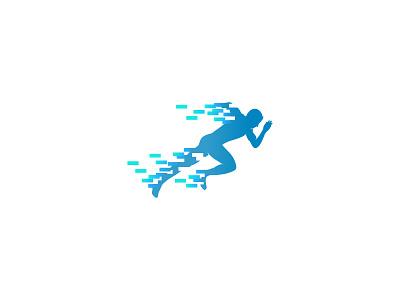 Virtual Running virtual digital run running idea symbol sale concept design branding icon logo