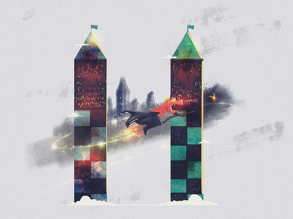 H typography design illustration 36dayoftype