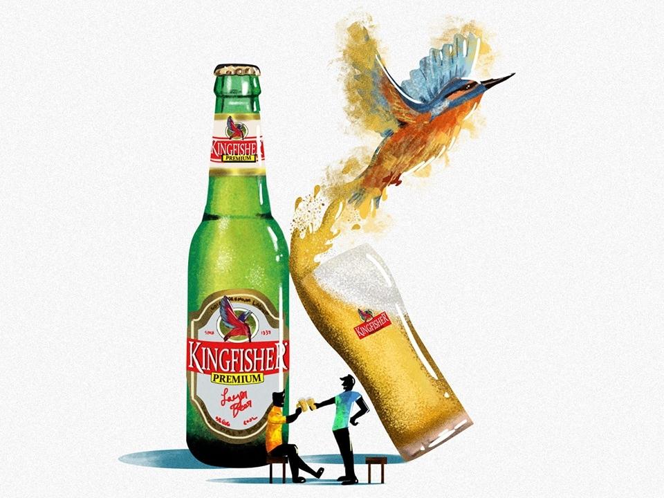 K bird beer art kingfisher photoshop typography illustration 36dayoftype