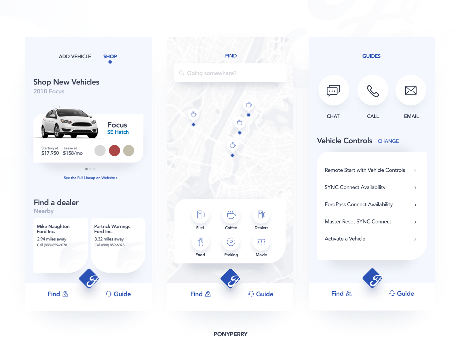 FordPass Redesign - Part 2 blue clean interface ui interface ford pass fordpass ford app ford redesigned redesign vehicle app vehicle cars app ux ui