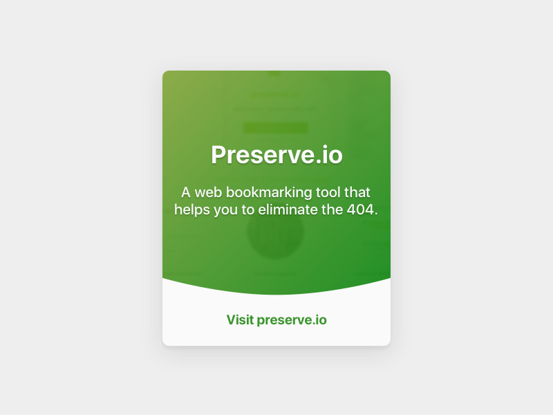 Preserve project card visual design visual web interface ui
