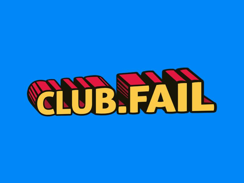 club.fail logo comic branding brand logo