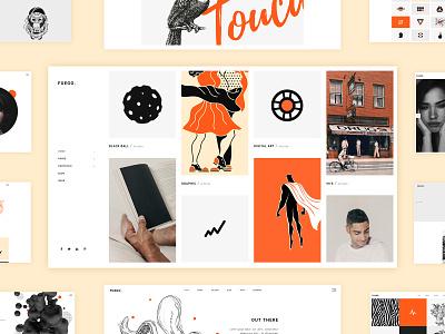 Fuego - WP Theme portfolio art orange illustration yellow black agency slider home homepage web wordpress ux ui digital web design clean colors design creative