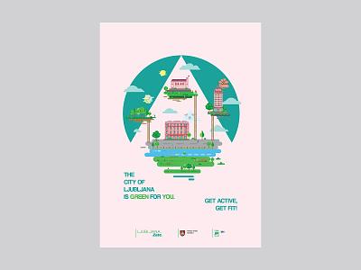 Ljubljana ljubljana city poster design graphic design illustrator typography vector illustration digital clean colors design creative