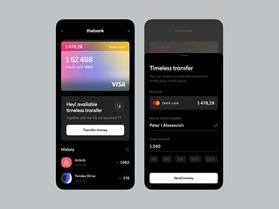 The Bank Timeless Transfer dark bank money finance transfer cards elements ux ui app gird interface mobile