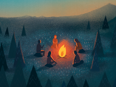 Campfire illustration campfire bonfire friends dusk twilight camping