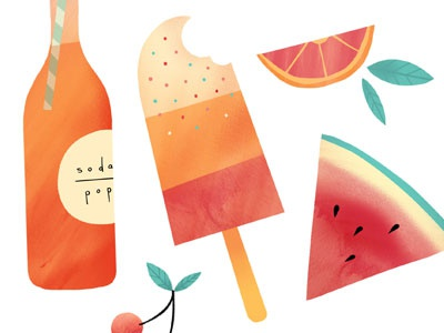 Summatime  icons illustration texture food watermelon popsicle retro cherries